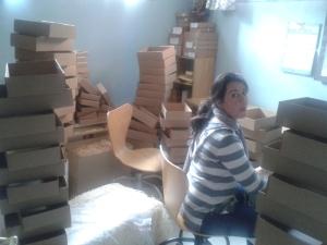 Isabel redeada de cajas